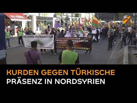 Kurden protestieren bei Kundgebung in Berlin gegen türkische Präsenz in Nordsyrien