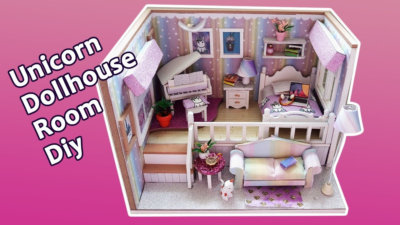 Unicorn dollhouse bedroom diy working lights bedroom ideas unicorn bedroom decoration youtube for Unicorn bedroom theme