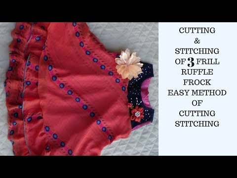 JHABLA Style 3 Layers Frill Frock Cutting,STITCHING FULL TUTORIAL EVERYONE CAN SEW THIS FROCK