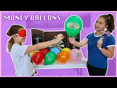 THROWING A DART MONEY BALLOONS CHALLENGE | SISTER FOREVER
