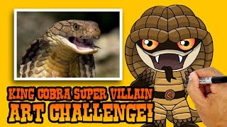 How to Draw a King Cobra Supervillain | ART CHALLENGE