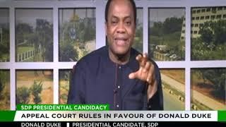 SDP Presidential candidate, Donald Duke speaks on Appeal Court ruling