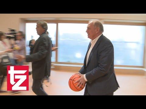Uli Hoeneß als Basketballer: Bayern-Ikone wirft Freiwürfe im Dominik-Brunner-Haus der Johanniter
