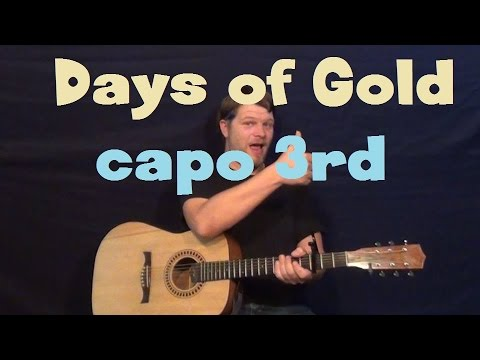 Days of Gold (Jake Owen) Easy Strum Guitar Lesson Capo 3rd Fret How to Play Tutorial with Solo TAB