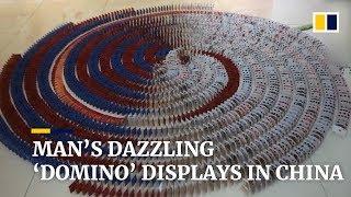 Man's dazzling 'domino' displays in China