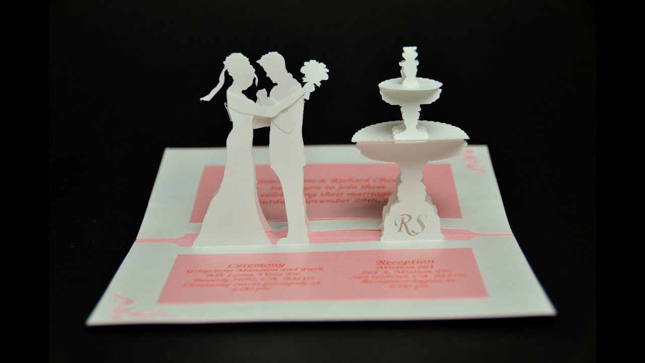 Wedding Invitation Pop Up Card Bride And Groom