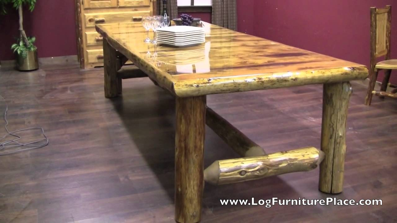 Cedar Lake Lodge Log Dining Table - YouTube