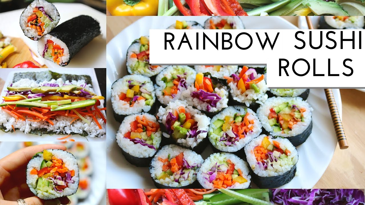 How To Rainbow Sushi Vegan Healthy Gluten Free Youtube