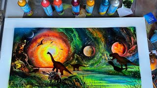 Jurassic park dinosaurs spray painting