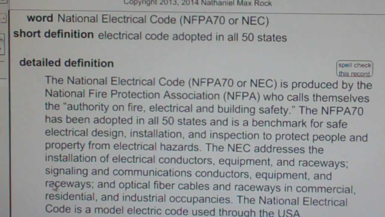 National Electrical Code (NFPA70 or NEC) GCE42.com General ...