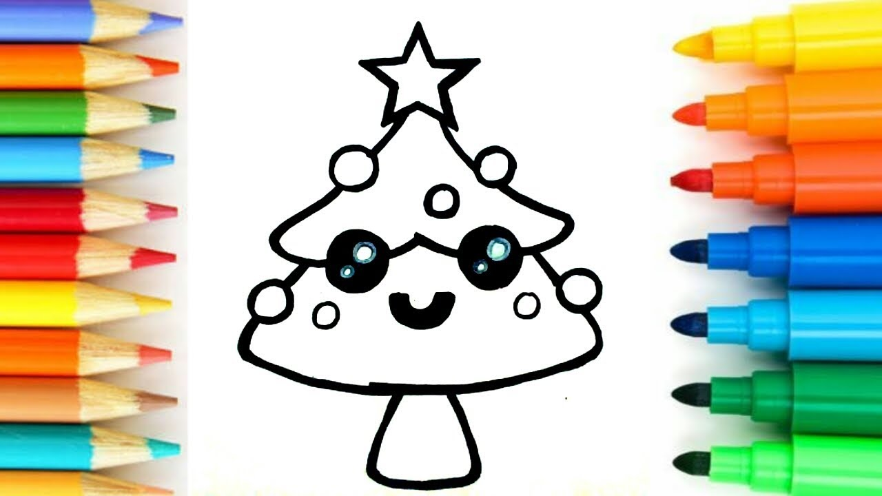 How to draw cute christmas tree|Easy learning steps ...