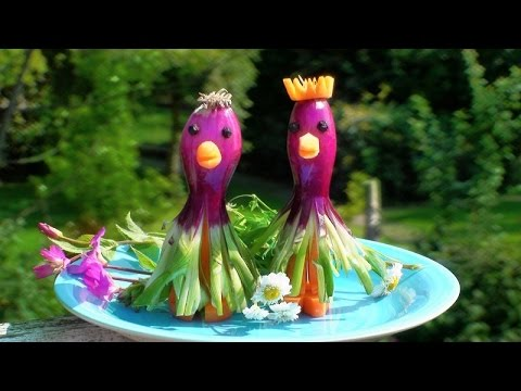 Art In Red Spring Onion & Carrot Garnish   Vegetable Carving   Cute Cartoon Wedding Couple