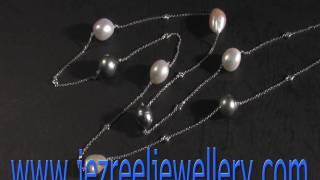 18K白金黑南洋珠加淡水真珠鑽石頸鍊