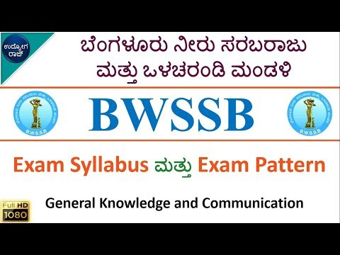 BWSSB Exam Syllabus/AE,JE,Meter Reader Exam Pattern/syllabus in kannada/kannada jobs/udyoga raj