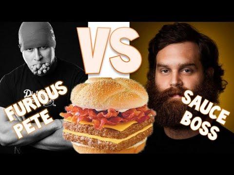 furious pete vs sauce boss baconator furious pete youtube
