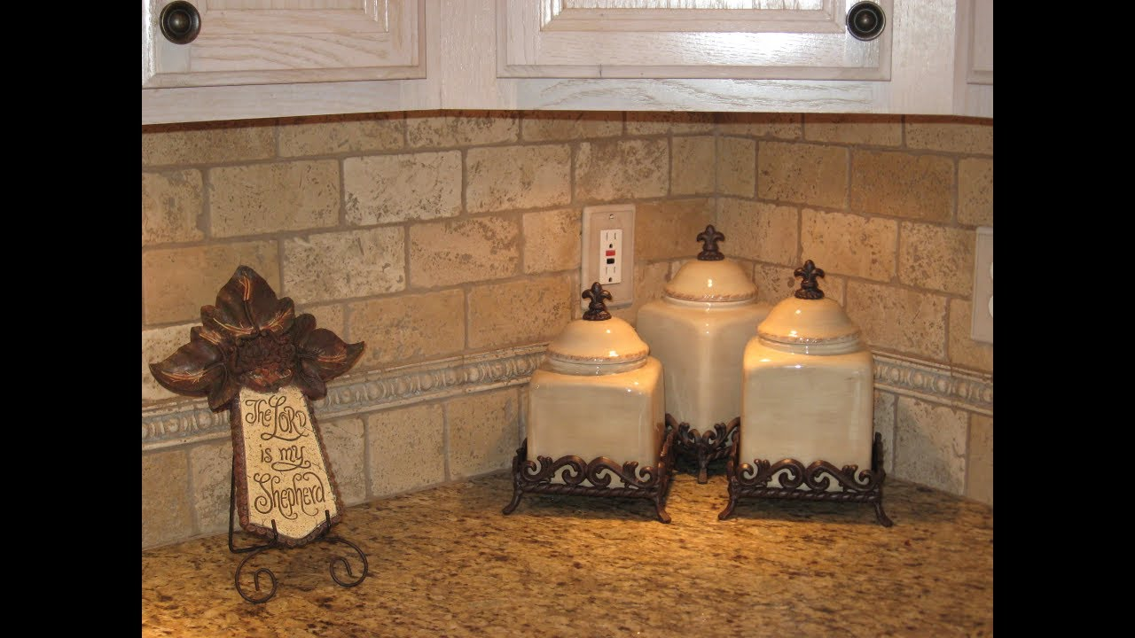 Tumbled travertine tile kitchen backsplash ideas youtube tumbled travertine tile kitchen backsplash ideas dailygadgetfo Images