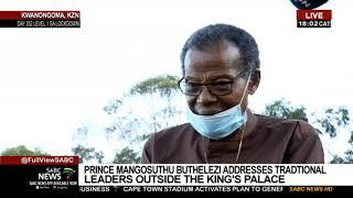 Prince Mangosuthu Buthelezi addresses traditional leaders on the Zulu King's passing