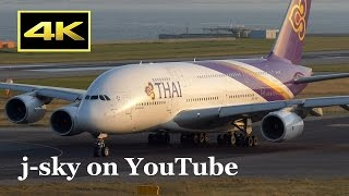[4K] Thai Airways International Airbus A380 at Kansai Airport / タイ国際航空 関西国際空港