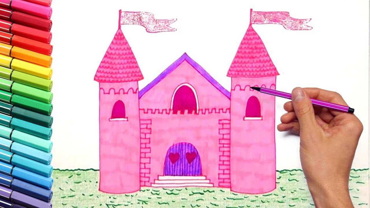 drawing pink castle for princess coloring page for girls with