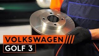 Watch the video guide on VW GOLF III (1H1) Brake discs and rotors replacement