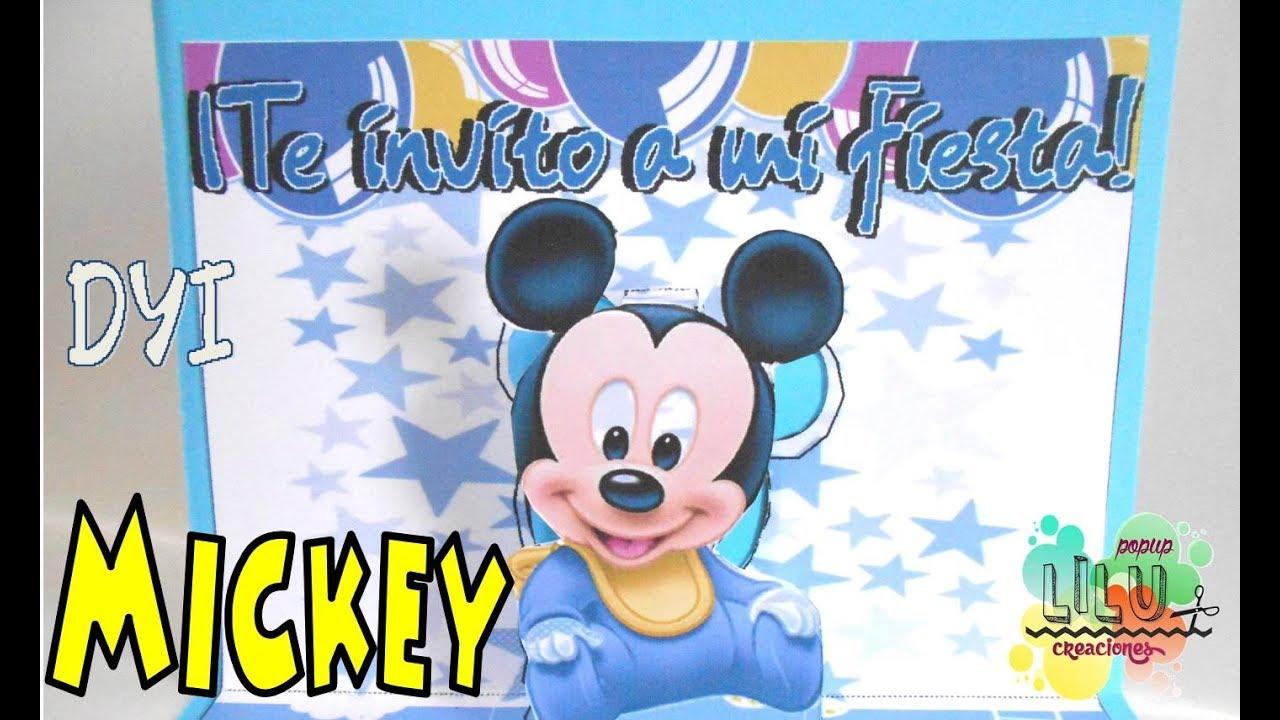 Invitación Infantil Mickey Bebé Diy Mickey Baby