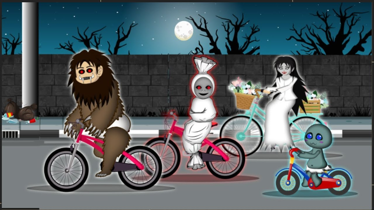 Balap Sepeda Hantu Kartun Hantu Lucu