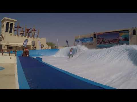 FlowRider FLow Barrel at Yas Waterworld Waterpark Abu Dhabi Dubai UAE Surf Machine Pro Tricks