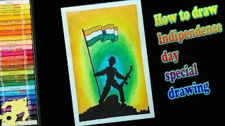 Independence Day drawing Very Easy for beginners with Oil Pastels - step by step|