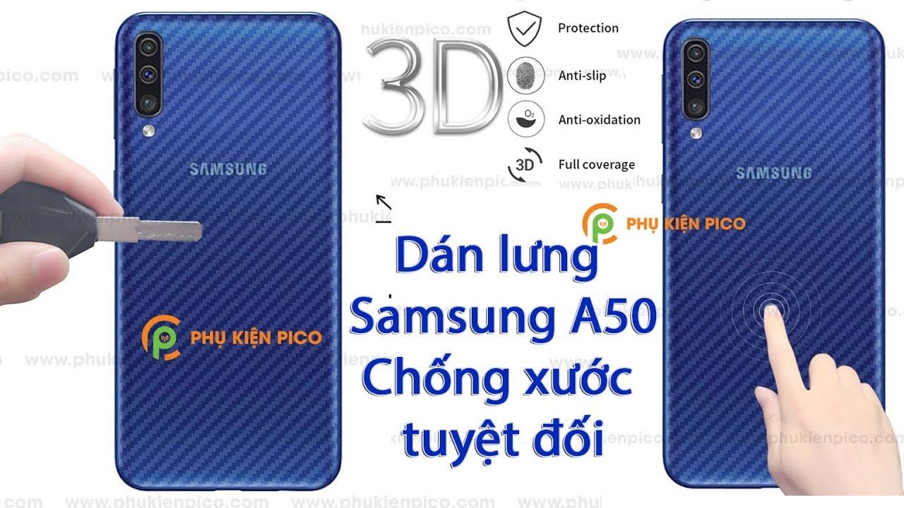 Dán mặt lưng Samsung A50 Carbon chống xước tuyệt đối