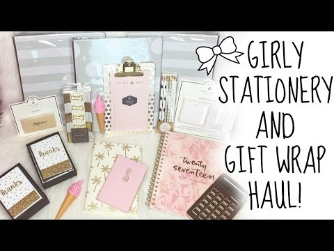 GIRLY STATIONERY & GIFT WRAP HAUL!! ♡ HomeGoods, TJ Maxx, Dollar Tree, Target ♡ Back to School