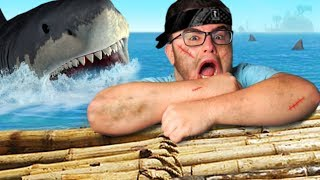ATTACKED by a SUPER SHARK on my RAFT | Raft #1