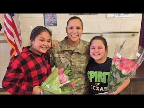 Military Mom Surprises Daughter And Niece During School Assembly