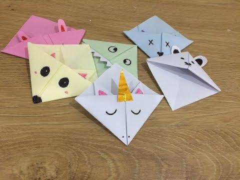 Cute DIY animal corner bookmarks! New designs! Unicorn,cat,bunny..TUTORIAL EASY BEGINNER FOLDING