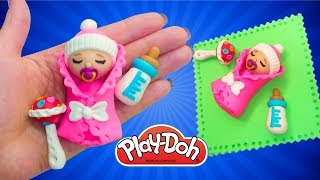 DIY Barbie Baby Doll. How to Make Baby for Doll. Play Doh Newborn Baby. DIY Miniatures