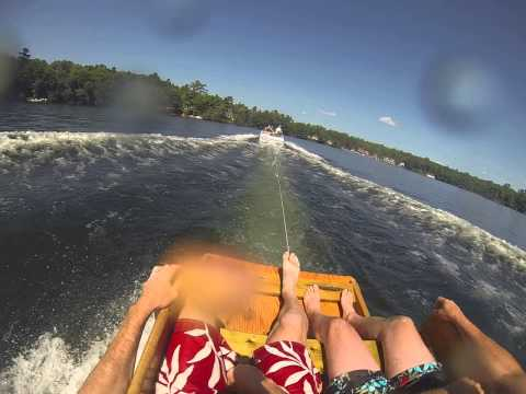 Riding the Muskoka Chair Water Ski for two