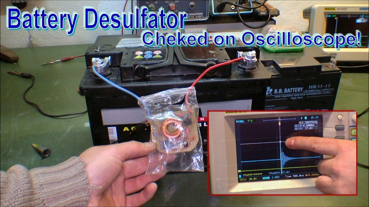 Mounting battery desulfator and chek on Oscilloscope - 134
