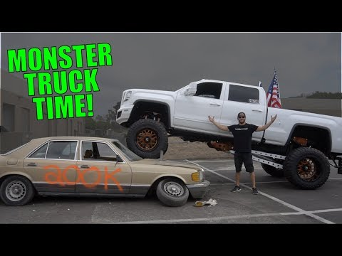 CRUSHING MY MERCEDES WITH MY SEMA TRUCK!!