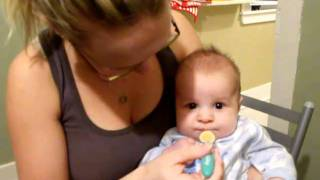 baby Shane tastes pablum for the first time!