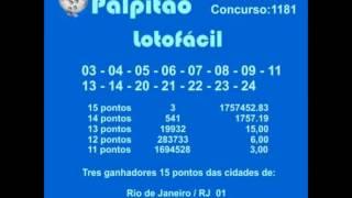 LOTOFACIL CONCURSO 1181  11032015