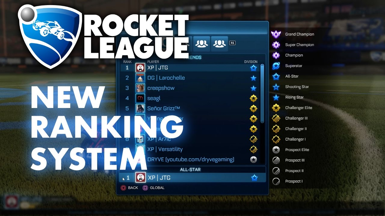 How does the ranking system work in Rocket League