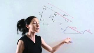 Triángulos semejantes con medidas desconocidas