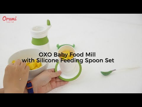 OXO Baby Food Mill with Silicone Feeding Spoon Set