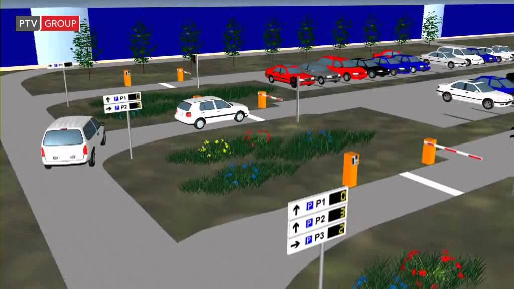 Ptv Vissim Car Park Guidance System Youtube
