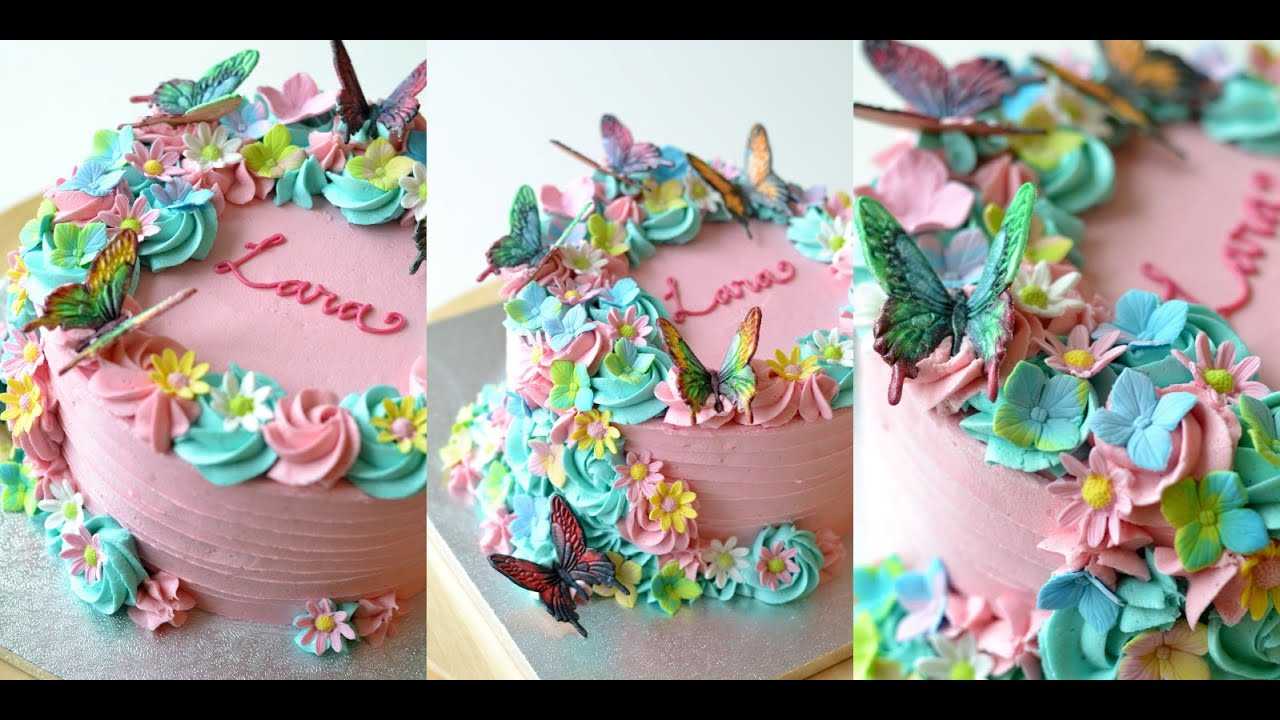 Butterfly and Flower Buttercream Cake