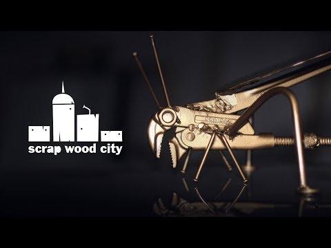 DIY metal grasshopper sculpture