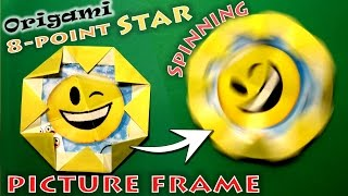Origami Spinning 8-Point Star Picture Frame (with music)
