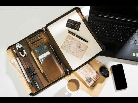 AZXCG Handmade Portfolio With Notepad Holder Crazy Horse Leather Portfolio IPad Case