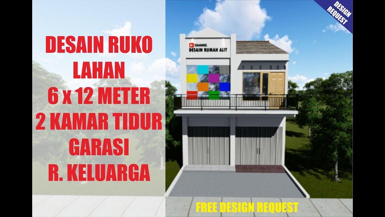 Desain Rumah Toko Ruko 2 Kamar Tidur Di Lahan 6 X 12 Meter Youtube Denah rumah toko minimalis
