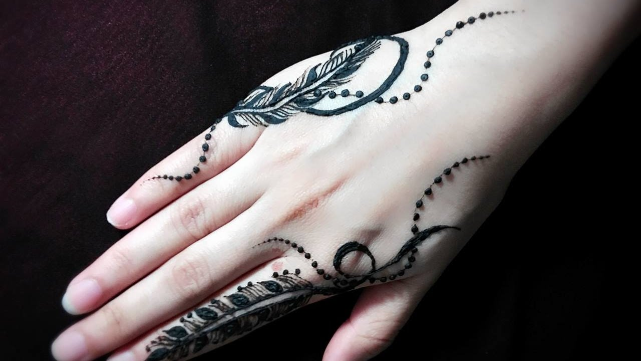 19 Beautiful Feather Henna Designs You Will Love To Try: Feather Mehendi/Jagua Design Tutorial #17- Henna Temporary