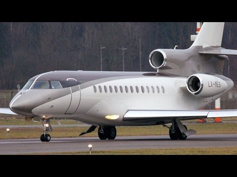 "Dassault Falcon 7X ""Mini Bandit"" LX-MES Take Off at Bern Airport"